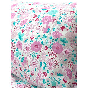 "Moonlit Sleep Organic Cotton Sheets ""Fairy Garden Floral"" Design"