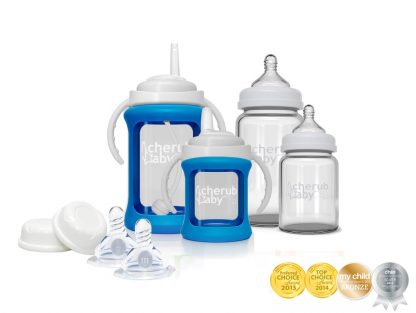 Glass Baby Bottles Starter Kit Blue